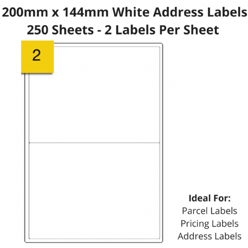 White Sticky Address Labels - 2 Per Sheet